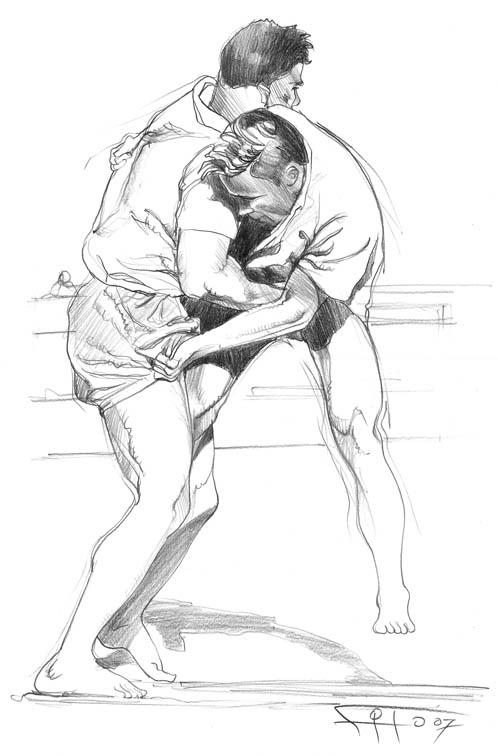 luchadores en brega