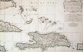 """Mapa de la actual República Dominicana, (1730), uno de los destinos """"elegidos""""."""