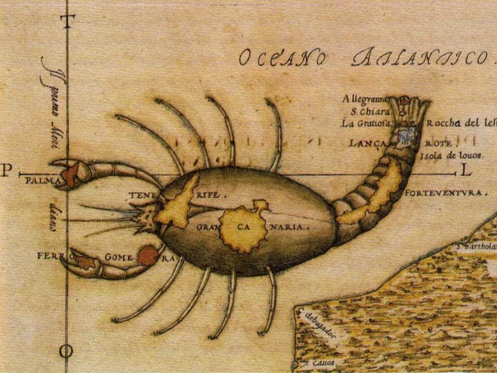Mapa de Torriani, antigua etiqueta trasera de Arehucas Carta Oro.